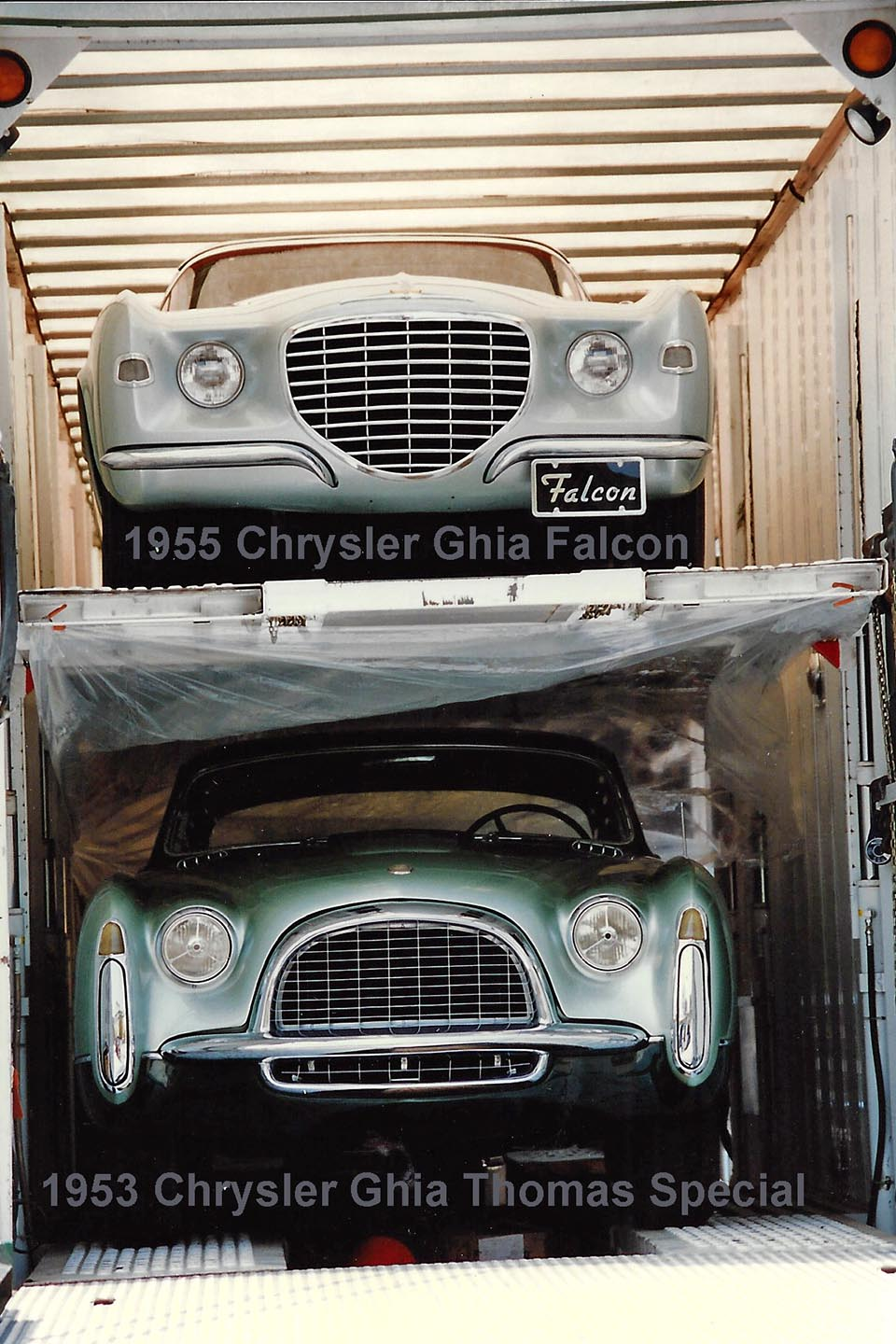1955 Chrysler Ghia Falcon and 1953 Chrysler Ghia Thomas Special being delivered to the museum.